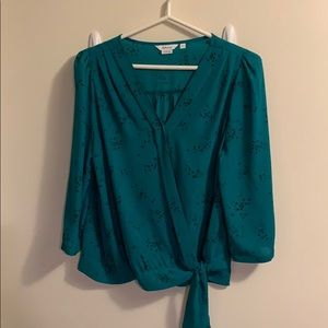 Front tie green blouse